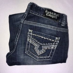 Rock and Roll Cowgirl Skinny Bling Jeans 28 28.5